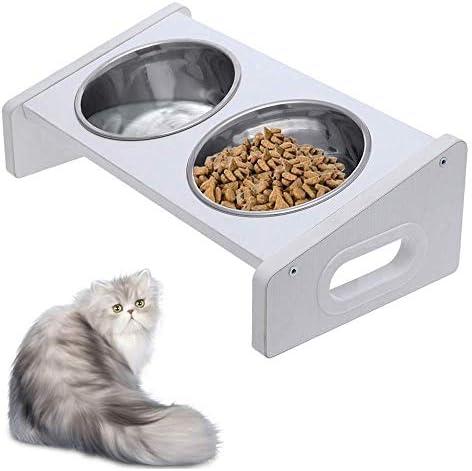Dmqpp Pet Waterer Cat Pet Food Wasser-Schüssel-Standplatz Feeder W / 2 Edelstahl-Schüsseln Anti-Rutsch-Füße Pet Waterer Leicht zu Water and Clean (Color : Silver, Size : 35x19x11cm)