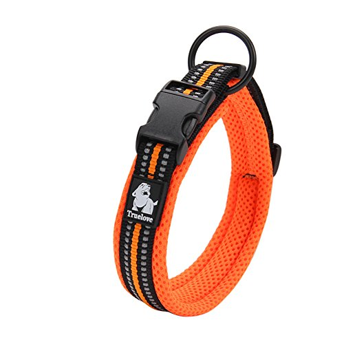 Creation Core 3M Reflective Mesh Padded Dog Collar Adjustable Nylon Outdoor Adventure Pet Collar, Orange L