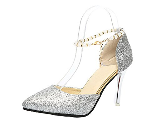 Materials Solid Sandals Closed Blend Buckle Toe VogueZone009 Heels Silver High Women 4fwPqZgB