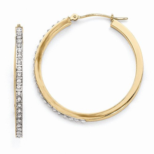 14k Yellow Gold In & Out Diamond Fascination Round Hinged Hoop Earrings (.01 cttw.) (35mm x (Diamond In & Out Hoop)
