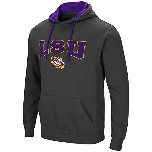 (Colosseum Men's NCAA-Scoreboard-Dual Blend-Fleece Hoodie Pullover Sweatshirt-Charcoal-LSU Tigers-XXL)
