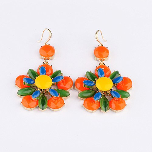 American Fluorescent Et Series (Earrings female European and American fashion style jewelry personalized crystal fluorescent colors sweet flower earrings earrings series)