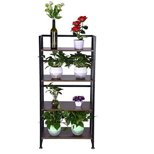 NszzJixo9 Bookshelf Rack 4-Tiers Bookcase - Home Office Shelf Storage No-Assembly Industrial Stand Sturdy Organizer for CDs, Records, Books, Deco