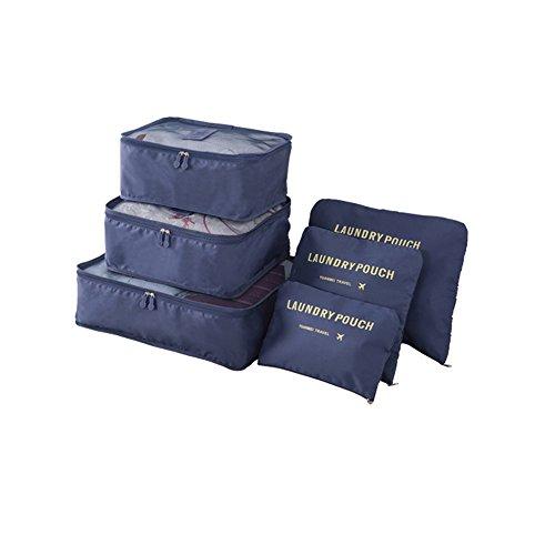 Clothes Travel Luggage Organizer Pouch (Dark Blue) Set of 6 - 2