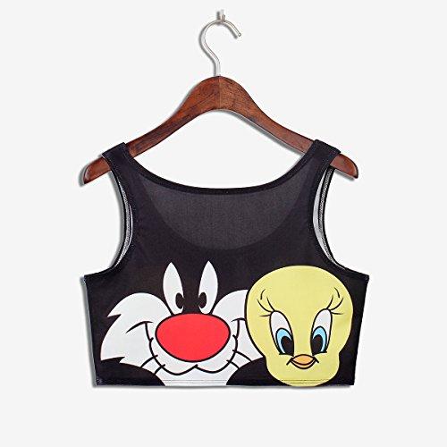Thenice - Camiseta sin mangas - Animal Print - para mujer Cat chick