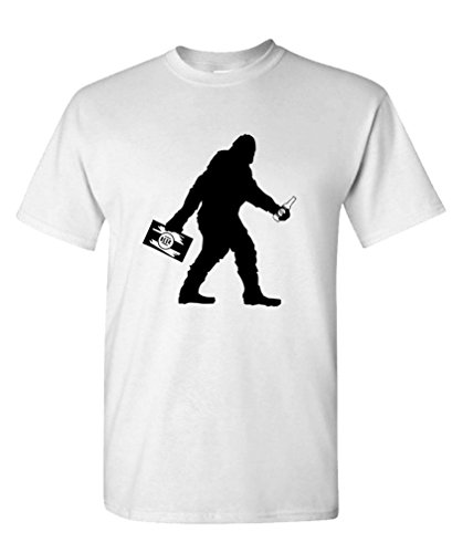 Beer Funny White T-shirt - The Goozler Sasquatch Bigfoot with Beer Funny Party - Mens Cotton T-Shirt, M, White