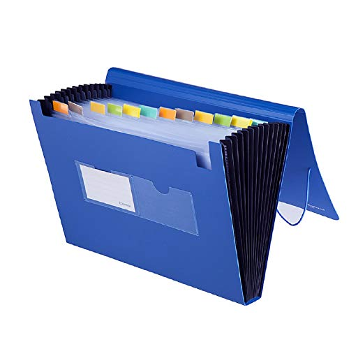 COMIX 13-Pocket Expanding File Poly Folder with End Tab A4/Letter Size Full Flap Elastic Wrap Closure Organizer Jacket (F4302-Blue)