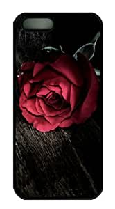 Red Rose on Wood Iphone 5 5S Hard Shell with Black Edges Cover Case by Lilyshouse