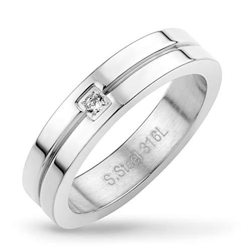 555Jewelry Mens Stainless Steel Classic CZ Cubic Zirconia Inlay Groove Thin Elegant Loop Comfort Fit Cool Edgy Unisex Wedding Engagement Band Fashion Jewelry Accessory Ring, Silver Size 10 from 555Jewelry
