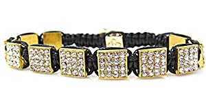 Gold Pave White Crystal Square Shamballa Hip Hop Bracelet