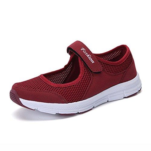 HWF Anti Taille Sport Chaussures Mom Chaussures femme Moyen Marcher Été Mère Grand 35 Vin Ge Dérapant Mère Femme Doux Confortable Chaussures Noir Rouge Couleur qnRwR5Yr8