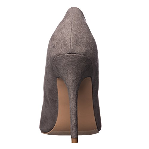 Heel Pumps Round Women's Grey Piper Toe High Suede Riverberry B7fqg