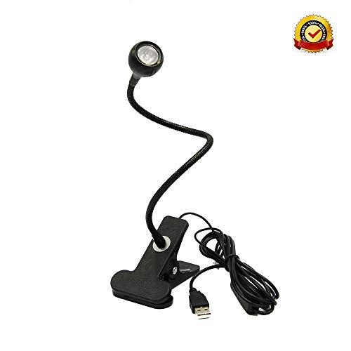 Mini Lamp Clamp (LED Desk Lamp, LED Table Lamp Black,Push-on Swich Control, Mini Small Size, Great for Spotlighting Display)
