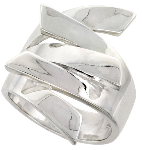 Sterling Silver Interlocking Fingers Ring Flawless Quality 1 inch Wide, Size 6