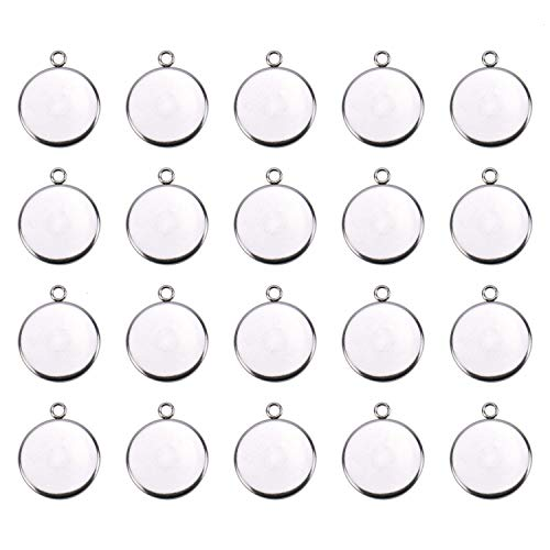 - JETEHO 20Pcs 18mm Stainless Steel Round Pendant Blank Tray for Jewelry Making Cabochon Settings,Silver