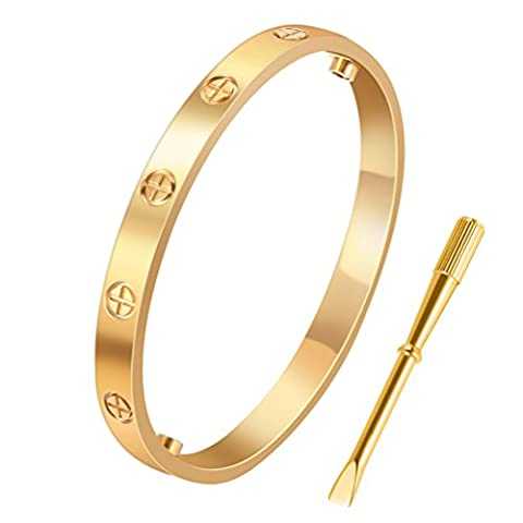 Yeemer Fashion Jewelry Stainless Steel Love Screw Oval Bracelets Bangles with Screwdriver (19cm Gold (Love Jewelry For Men)