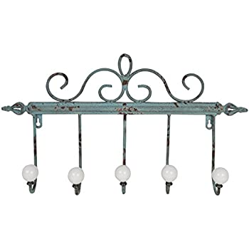 This Item Distressed Metal Coat Rack With 5 Large Iron Hooks Green