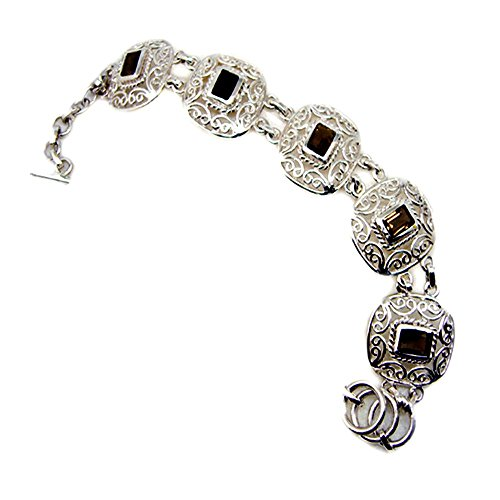 Genuine Emerald Cut Smoky Quartz 925 Sterling Silver Vintage Style Bracelet For Gift Length 6.5-8 Inches by 55Carat
