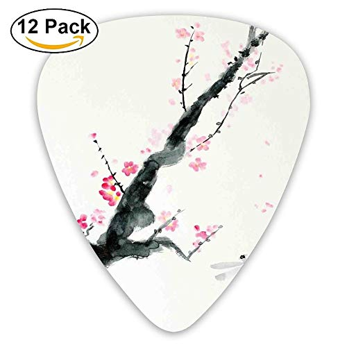 Branch Of A Pink Cherry Blossom Sakura Tree Bud And A Dragonfly Dramatic Artisan Guitar Picks 12/Pack ()