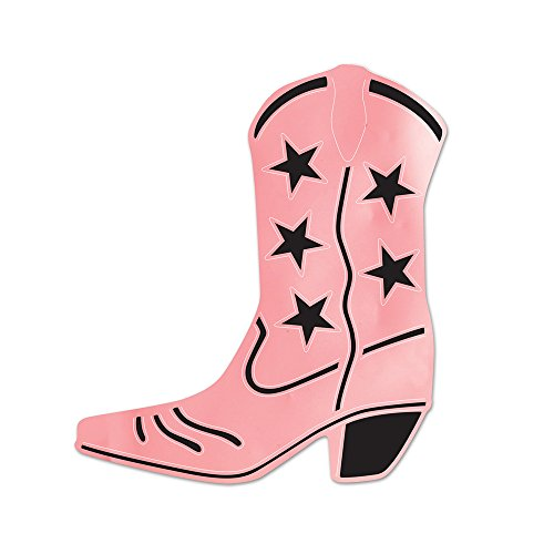 Beistle Home Party Decoration Foil Cowboy Boot Silhouette Pink- Pack Of 24