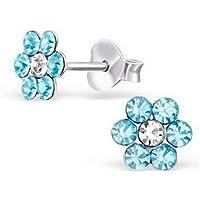ERAWAN 1 Pair Womens Daisy Crystal Flower Stud Earrings Jewelry Gift EW sakcharn (Lake Blue)
