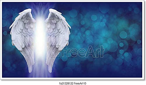 Angel Wings On Blue Banner Paper Print Wall Art (21in. x 38in.)