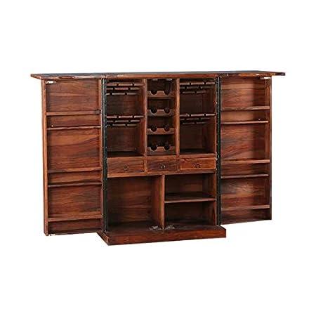 Ringabell Altavista Solid Sheesham Wood Universal Diamond Bar Cabinet (Teak & Mahogany Finish)