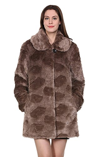 Adelaqueen Faux Fur Coat Jacket Women Brown Coat Jacket Large Winter Coat Clothing Plus Fluffy Fake Fur Coat Thick Fashion Faux Fur Lady Coat Outerwear Shaggy Fuzzy Elegant Coat L ()