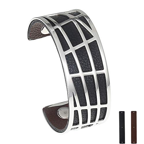 LEGENSTAR Open Cuff Bangle, Stainless Steel Bracelets Interchangeable Double-Sided Leather Fashion Bangles for Women & Men[Water Ripple ()