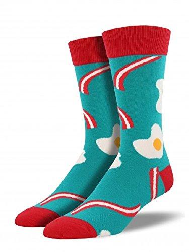 """Socksmith Mens' Novelty Crew Socks """"Bacon 'n Eggs"""" - 1 pair (Capri Teal)"""