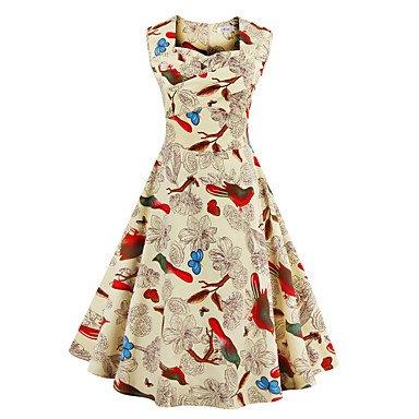 PU&PU Robe Aux femmes Swing Vintage,Fleur Col Carré Mi-long Coton , blue , s
