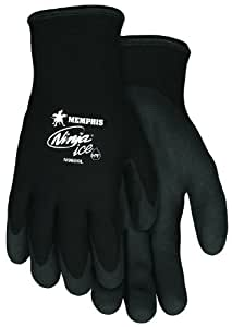MCR Safety N9690L Ninja Ice Double Layer Nylon Shell Gloves with HPT Dipped Palm and Fingertips, 15-Gauge, Black, Large, 1-Pair