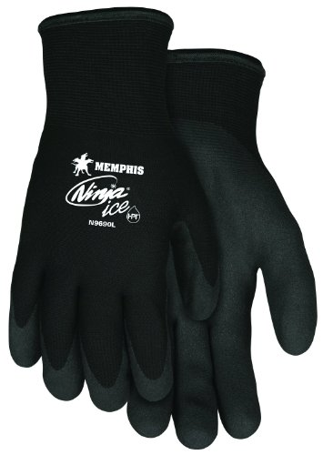 Memphis Glove N9690M Ninja Ice 15 Gauge Black Nylon Cold Weather Glove, Acrylic Terry Inner, HPT Palm and Fingertips, Medium, 1 Pair ()