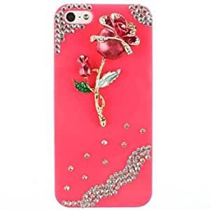 GJY Red Roses Pattern Metal Jewelry Back Case for iPhone 5/5S