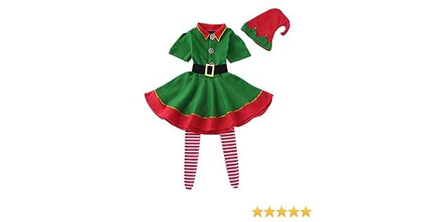 Bbsmile Disfraz Infantil Para Navidad Unisex Niños De Elfo Vestido Top Blusa Sombrero Disfraz De Santo Equipo Del Duende 2 14 Años