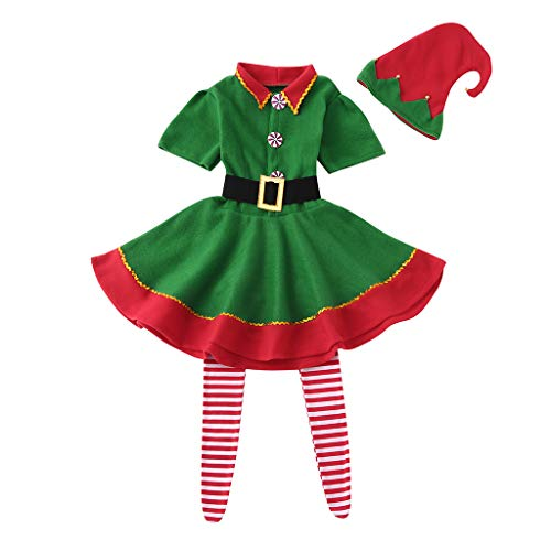 Family Matching Christmas Sets Performance Costumes Suit Xmas Elf Holiday Men Women Toddler Baby Boys Gilrs Mix Match Pajamas PJs Collection with Caps & Socks (M, Womens) for $<!--$11.29-->