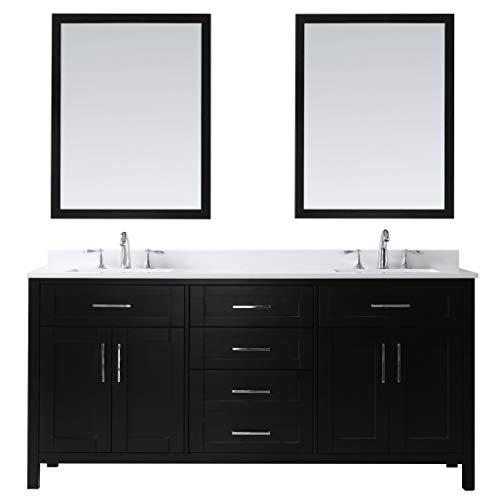 Ove Decors Maya 72 Espresso Double Vanity with Quartz Top, Backsplash and Two Mirrors, 72 inches,