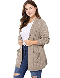 Agnes Orinda Women's Plus Size Open Front Sweater Cardigan 2X Brown