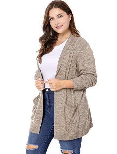 Agnes Orinda Women's Plus Size Open Front Sweater Cardigan 3X Brown