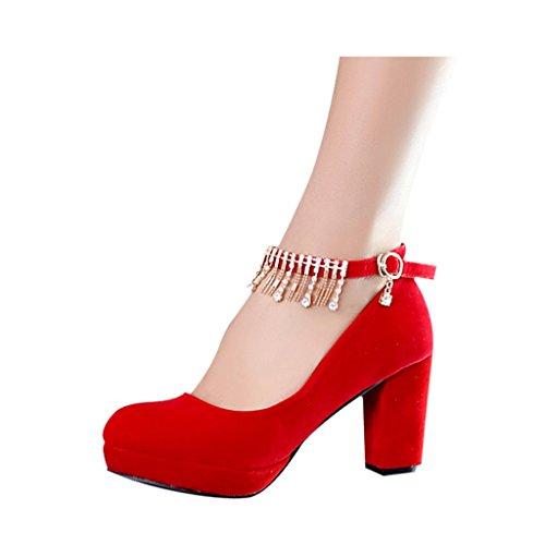 Red con Da Spessore Alto Rosso Scarpe Beautiful Shoes Con Sposa colore Donna Alti Bridal 38 Dimensioni Nelle Pizzo 8cm Red Tacchi TOqnv7f