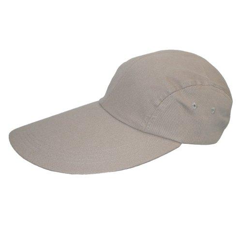 CTM® Long Bill Baseball Cap with Extended 5 Inch Visor color Khaki  one (Long Bill Cap)