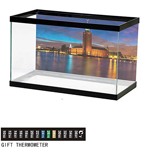 (bybyhome Fish Tank Backdrop European,Stockholm Scenic Night,Aquarium Background,48