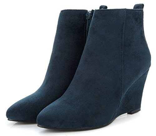 Heel Ankle Booties Easemax Zip Women's Suede Dressy Wedge Up Side High Faux Blue xRwBq4