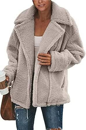 Pink Queen Womens Fuzzy Faux Shearling Zipper Oversized Long Sleeve Sweater Coats Gray S