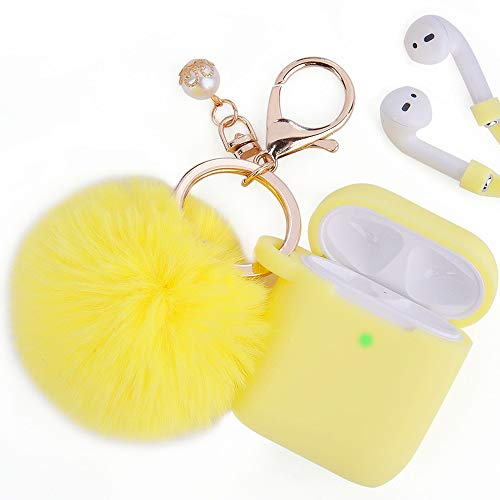 Airpods Case, Filoto Airpod Case Cover for Apple Airpods 2&1 Charging Case, Cute AirPods Silicon Case with Airpods Accessories Keychain/Skin/Pompom/Strap 2019 Summer Series (Lemon Yellow)