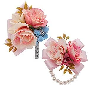 Mibest 2pcs Wrist Corsage and Boutonniere Set Ribbon Corsage Artificial Flower Pearl Wristband Poney Boutonnieres for Wedding Boutonnieres Bride Bridesmaid for Prom Party Wedding Decor 54