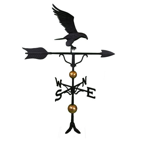 Montague Metal Products 52-Inch Deluxe Weathervane with Full Bodied Black Eagle Ornament ()