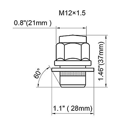 Dynofit 12mmx1.5 Wheel Lug Nuts OEM, 20x Chrome M12x1.5 Lug Nut, Mag Seat, Closed End Lugnuts Set with Washer for Most 5 Lug 4 Lug Factory(Stock) Wheels: Industrial & Scientific