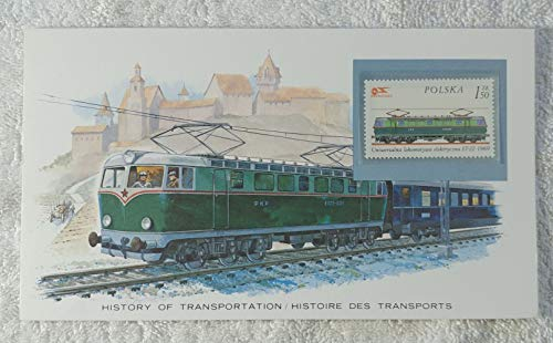 Electric Railroads - Postage Stamp (Poland, 1976) & Art Panel - The History of Transportation - Franklin Mint (Limited Edition, 1986) - Electric Locomotive, Train (Trains Locomotives Stamp)
