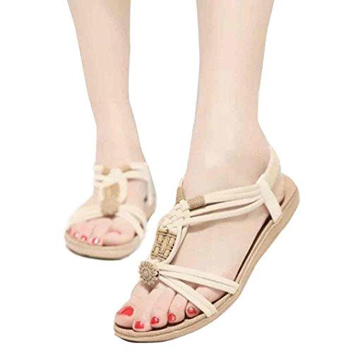 Elevin(TM)Women Summer Bohemia Sweet Beaded Sandals Clip Toe Sandals Beach Shoes (6.5US, Beige)